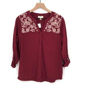 NEW Style & Co Embroidered boho prairie top shirt roll tab sleeve maroon M women